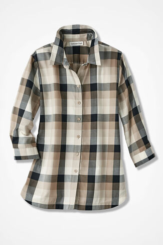 Paxton Plaid Easy Care Shirt, Driftwood, large
