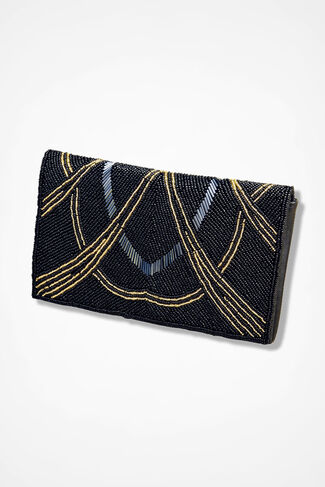 Art Deco Beaded Clutch, Black, large