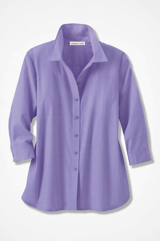 Three-Quarter Sleeve Easy Care Shirt, Lavender, large
