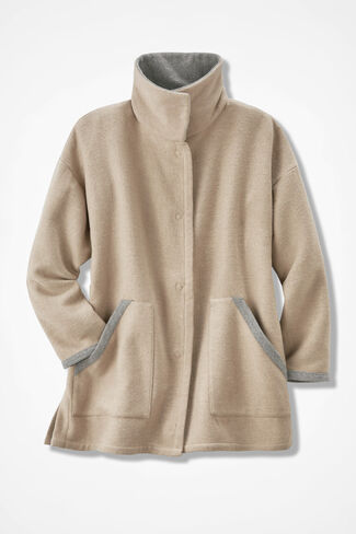Double-Faced Fleece Coat, Camel, large