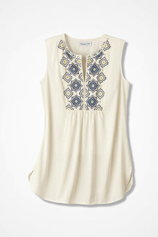 Sea Shine Beaded Tunic, Ivory, large