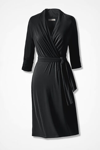 Destinations Wrap Dress, Black, large