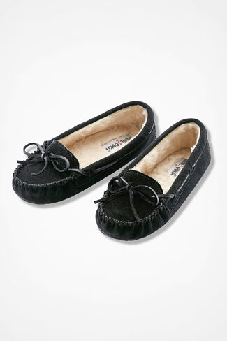 """Cally"" Moccasin By Minnetonka®, Black, large"