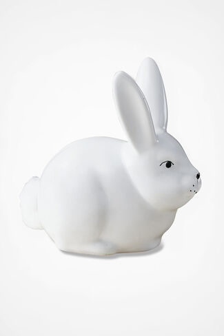 Bunny Cotton Ball Dispenser, White, large
