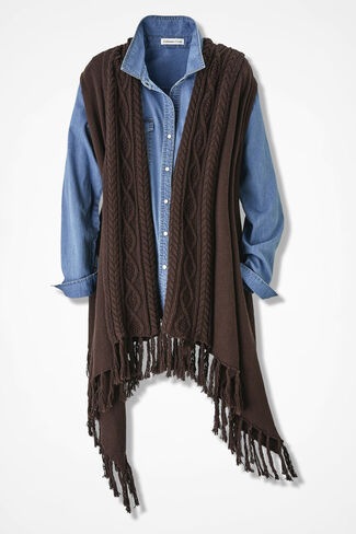 Fringed-n-Fabulous Cabled Vest, Brown, large