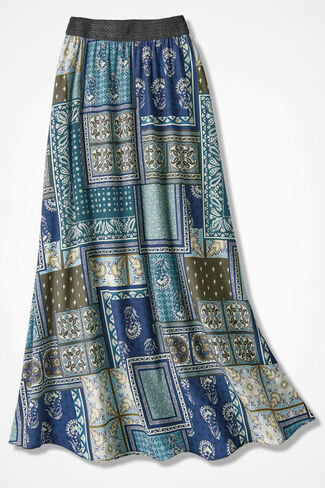 Patches of Blue Maxi Skirt, Robins Egg, large