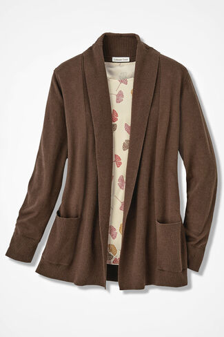 Mixed Rib Open Cardigan, Cocoa Brown, large