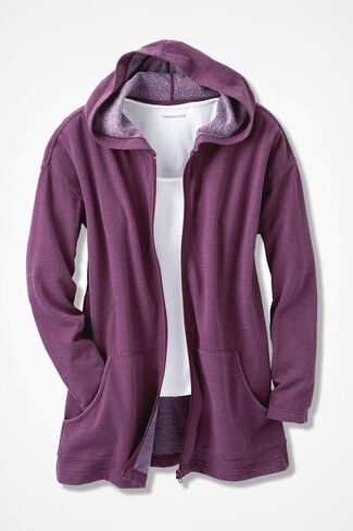Colorwashed Fleece Full-Zip Jacket, Mulberry, large