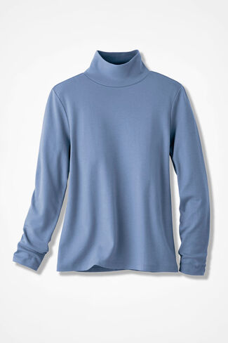 Essential Supima® Stand-Neck Tee, Dusty Blue, large