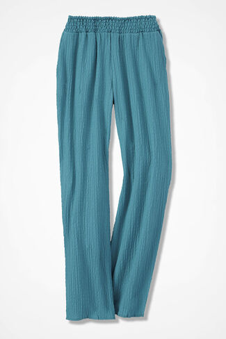 Relaxed Crinkle Pants, Cerulean, large