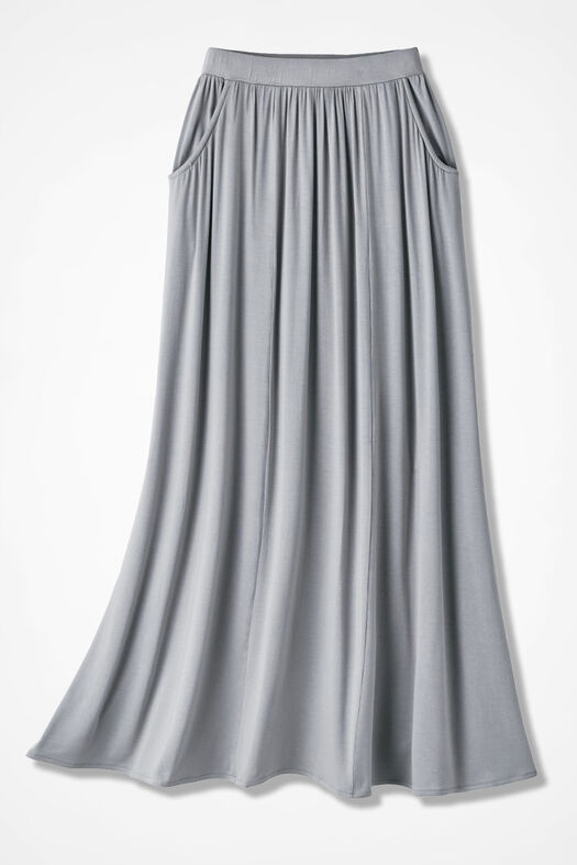 Free-n-Easy Knit Maxi Skirt, Grey, large