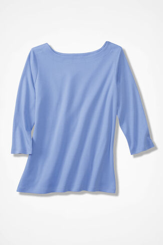 Essential Supima® Boatneck Tee, Clear Periwinkle, large