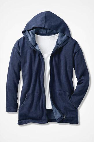 Colorwashed Fleece Full-Zip Jacket, Navy, large