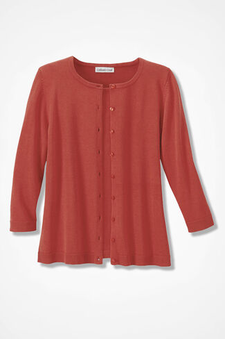 NEW Classic Cardigan, Rich Coral, large