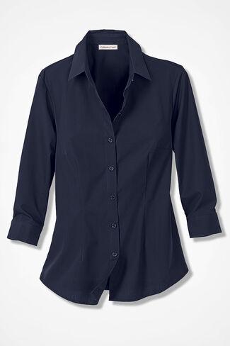 Classic Cotton Three-Quarter Sleeve Shirt, Neo Navy, large