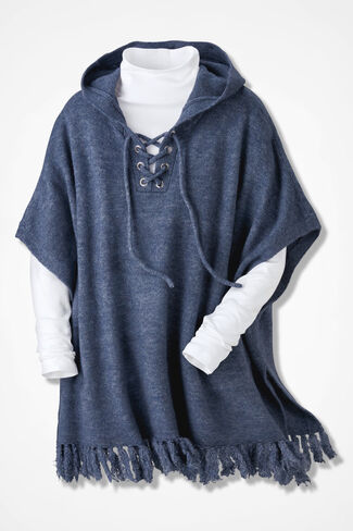 Soft Touch Hooded Poncho, Blue Indigo, large