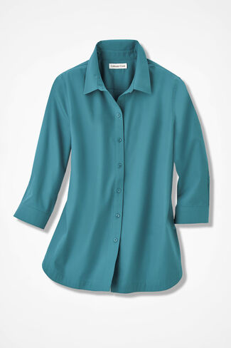 Three-Quarter Sleeve Easy Care Shirt, Cerulean, large