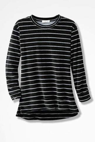 Velour du Jour Striped Pullover, Black, large