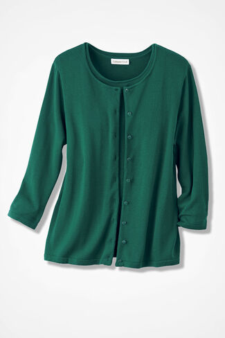 Silk/Cotton Cardigan, Brilliant Emerald, large