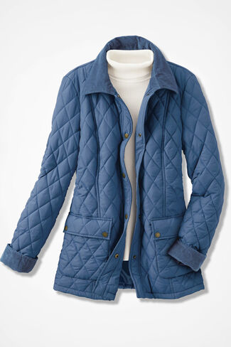 Quilted Barn Jacket, River Blue, large