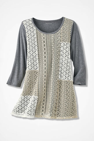 Lace Potpourri Swing Tunic, Mid Heather Grey, large