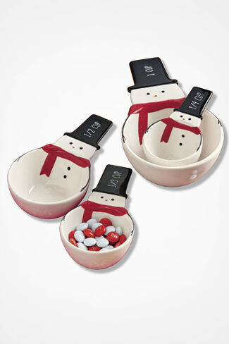 Snowman Ceramic Measuring Cups, White, large