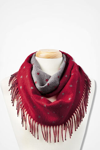 Dot-To-Dot Reversible Infinity Scarf, Red, large
