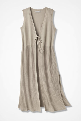 Twin-Textured Duster Vest, Flax, large