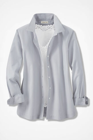 Long-Sleeve Easy Care Shirt, Dove Grey, large