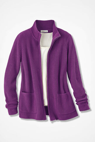 Shaker Zip-Front Cardigan, Vienna Currant, large