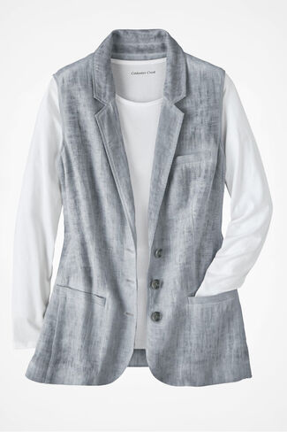 Great Lengths Linen Vest, Dove Grey, large