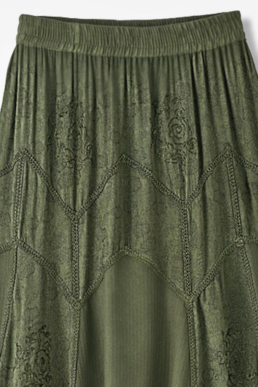 Embroidered Jacquard Skirt, Loden, large