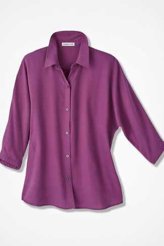 Solid Tencel® Dolman Shirt, Azalea, large