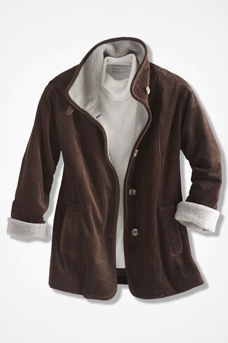 Country Drive Corduroy Coat, Brown, large