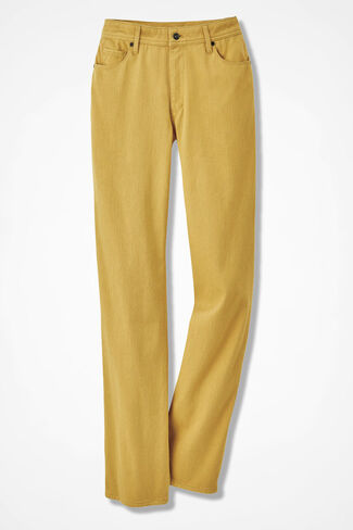 Knit Denim Straight-Leg Jeans, Amber, large