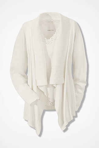Drape-Front Cardigan, Seasalt, large
