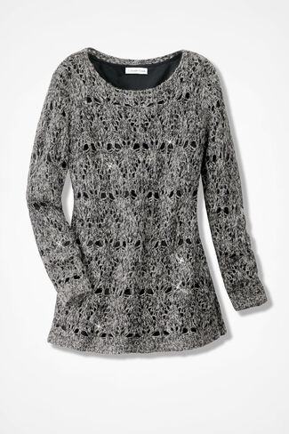 Glimmer Crochet Sweater, Black, large