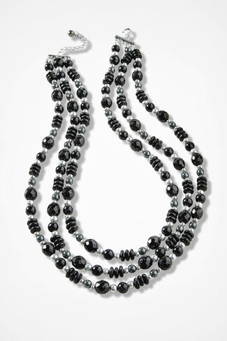 Tonal Cascade Necklace, Black, large