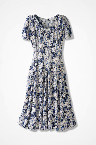 Wildflower Fit-n-Flare Dress, Blue Floral, large