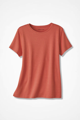 Essential Supima® Crewneck Tee, Rich Coral, large