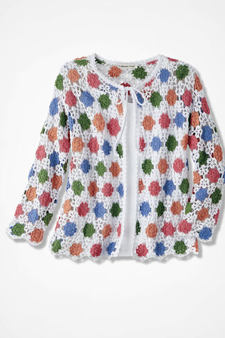 Floral Crochet Cardigan, Multi, large