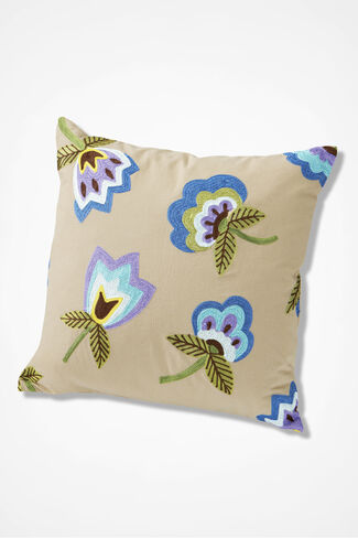 Bird & Blooms Floral Pillow, Beige, large
