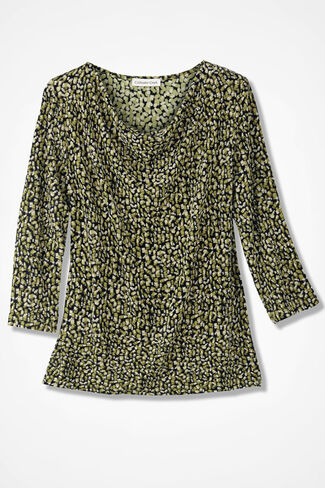 Destinations Geo-Print Drape-Neck Top, Avocado, large