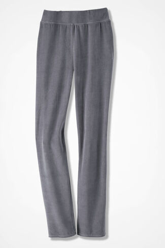 Velour du Jour Slim-Leg Pants, Graphite, large