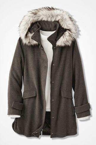 Purely Plush Hooded Fleece Coat, Mocha, large