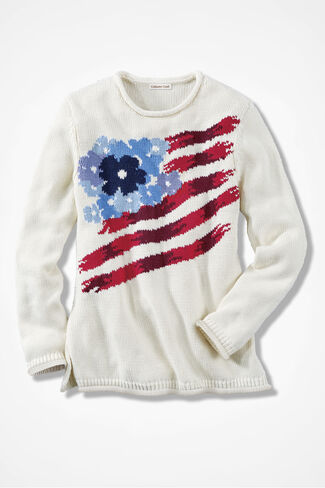 Red, White and Blooms Sweater, Ivory, large