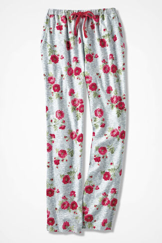 Winter Blooms Print Flannel PJ Pants, Grey Multi, large