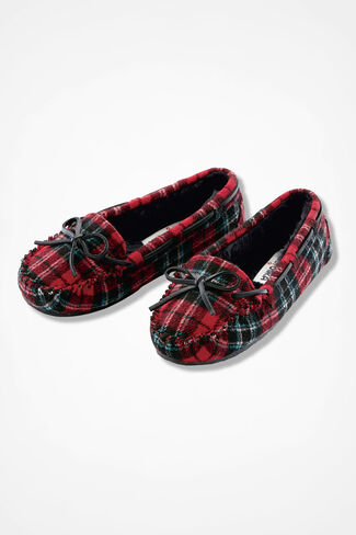 """""""Cally"""" Moccasin By Minnetonka®, Red Plaid, large"""