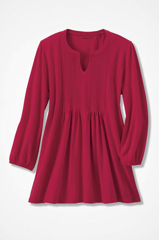 NEW! Pintuck Knit Tunic, Fresh Red, large