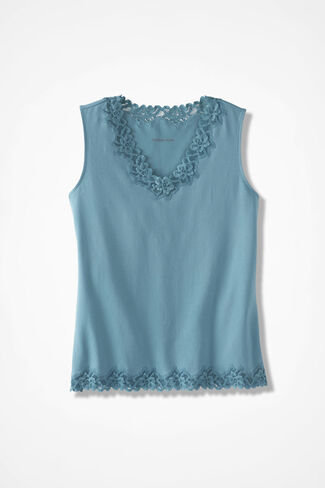 Double Lace Tank, Robins Egg, large